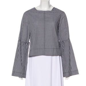 DEREK LAM 10 CROSBY Gingham Long Sleeve Top NWT